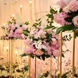 2020 flores da mesa do casamento seda personalizada subiu artificial flores centrais Ball Road chumbo decoração arranjo cabeça para o casamento cenário bola flor mesa flores da mesa do casamento barato