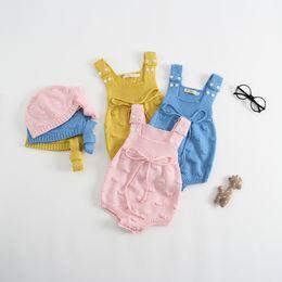 Everweekend Ins Hot Toddler Baby Girls Candy Mamelucos de punto suéter con sombreros Rosa Azul Amarillo Color Ropa para niños lindos desde fabricantes