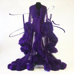 Имперские платья онлайн-Imperial Grape Night платье Cassandra Robe Fur Nightgown Халат Пижама Bridal Мантия халат партия подарки невеста платье