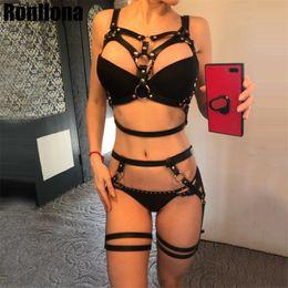 frauen bondage käfige Rabatt Leder Harness Belt Body Harness für Frauen 2 Stück Strumpfband Hosenträger Sexy Frauen Body Bondage Cage Leder Dessous