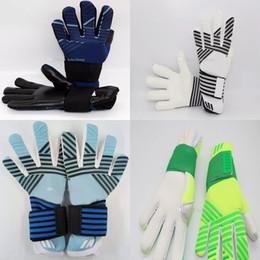 Tecidos de látex on-line-Luvas profissionais do guarda-redes do futebol do futebol da tela do látex dos adultos sem economias do dedo