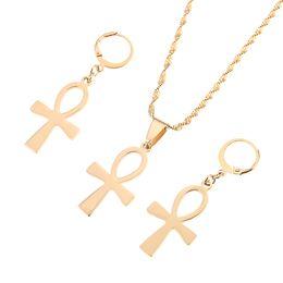 2019 insieme della collana dell'orecchino trasversale Gioielli egiziani Vintage la chiave del Nilo Ankh Croce ciondolo collana orecchino set sconti insieme della collana dell'orecchino trasversale