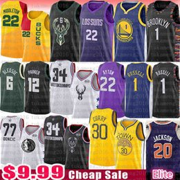 D'Angelo Josh Russell Jackson DeAndre Andrew Ayton wiggins Jersey hombres Stephen Curry Bledsoe Luka Dwyane Wade Khris Middleton Doncic Parker desde fabricantes
