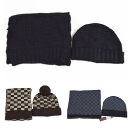 stole girl Coupons - Fashion Winter Classic Scarf Brand Designer Knitted Beanies Cashmere Men Women Hat Scarves Set for Ladies Luxury Girls Caps Hats Online
