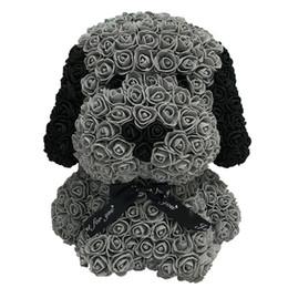 Led roses fleurs en Ligne-Bear Of Roses avec LED boîte-cadeau Ours en peluche Rose savon mousse fleur artificielle Cadeaux Nouvel An pour les femmes, Noir