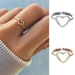2019 suena mejor amigo Grabar carta Best Friend Heart Ring Silver Gold Friendship Love Ring Joyería de moda para mujer A0357 suena mejor amigo baratos