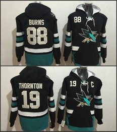 2019 joe thornton hoodie 2017 nuovo San Jose Sharks Hockey con cappuccio # 19 Joe Thornton # 88 Brent Burns Nero Blu maglie degli uomini del 100% cucita Hockey Felpa sconti joe thornton hoodie