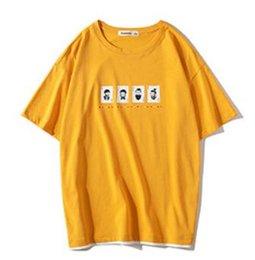Желтый 2019 лето печатных с коротким рукавом футболки, мужская повседневная мужская хлопчатобумажная футболка, мужская одежда, полу с рукавами куртка для подростков. от Поставщики летняя желтая куртка