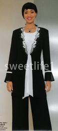 roupas de vestuário vintage Desconto 2020 New Elegante manga comprida Vestidos Mãe Com Calças Jacket Pavimento Length Outfits Piso formal da ocasião Evening Prom Vestidos Custom Made