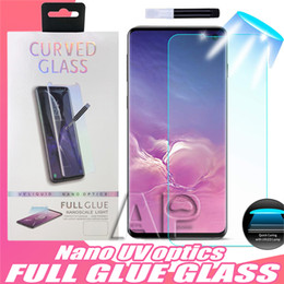 uv glasses Promo Codes - UV Tempered Glass For Iphone 11 Pro XS MAX Samsung Galaxy S10e S10 Note 9 8 S8 S9 Plus Full Liquid Glue