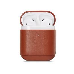 Auricular de color online-YunRT colores Funda de cuero para Apple Airpods 1/2 auriculares inalámbricos Bluetooth Accesorios Caja de carga Bolsas de auriculares