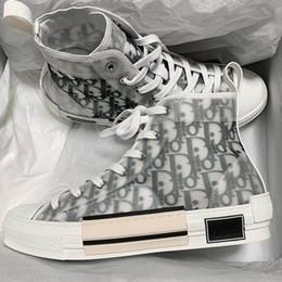"""Argentina Nuevas Flores Técnicas de Lona """"B23"""" High-Top Sneaker Oblicuo Casual Entrenadores de Alta Calidad Para Mujer Zapatos para Hombre Zapatos de Diseñador de Lujo LL42 Suministro"""