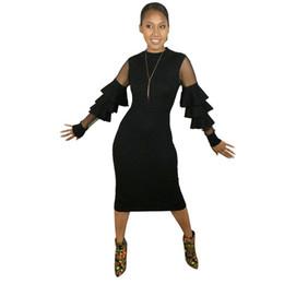 Canada Automne Femmes Longarm Midi Robe Moulante Noir Maille Patchwork En Couches Fleur Feuille Shell Sexy Robe De Fête Hiver cheap sheet dresses Offre