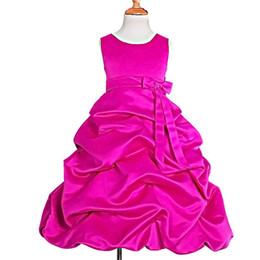Chicas recogen vestidos de desfile online-Satén para niñas, vestidos de niña de las flores para la fiesta de bodas Vestido formal