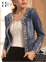 Jeans chaqueta on-line-HEE GRAND Jeans Casacos Mulheres Chaqueta Mujer Outono Denim Jacket Casaco Mulheres Crystal Slim curto Outwear Plus Size S-4XL WWJ920