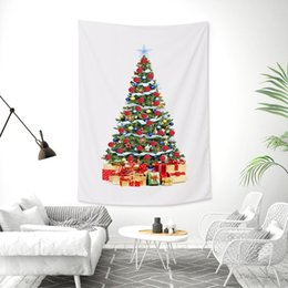 Sottili alberi di natale online-Merry Christmas Tree Arazzo appeso a parete grande Mandala Indian Beach Mat poliestere sottile coperta Yoga Scialle Mat coperta Natale