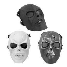 Ciclismo capacetes completos on-line-Máscara de Esqueleto de Crânio Super Legal Máscara de Ciclismo Capacetes de Tiro de Proteção de Rosto Cheio Com Escudo de Olho