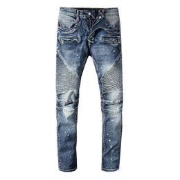 2019 camiseta de tendencia para hombre 2019 Classic Balmain Jeans para hombre camisetas de diseñador Punk Summer Straight Cómodo Moda Hasta la rodilla Jeans Hombres Mujeres Algodón Tendencia Denim camiseta de tendencia para hombre baratos