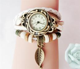Relógio de pulseira trançada mulher on-line-Multicolor alta qualidade Mulheres Homens PU Leather Jóias Quartz Vestido pulseira relógio de pulso folha Pedant Braid Watch Band presente Vintage Hot