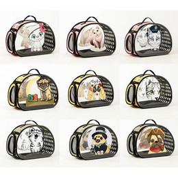2019 supporti pieghevoli di gatto PPet Dog Cat Carrier Cage Pu Trasparente Cartoon pieghevole Puppy Cat traspirante Fresco viaggio portatile estate tracolle per Med supporti pieghevoli di gatto economici