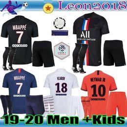 2019 entrenamiento de sombrero negro Hombres hijos Maillots de kit de fútbol PSG 19 20 camiseta de fútbol 2019 2020 CUARTA París Mbappé CAVANI camisetas de la camisa Camisetas ICARDI