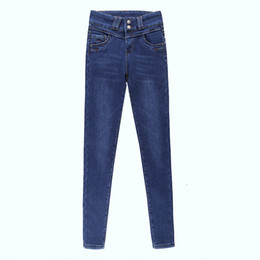 розовые цветы Скидка Free Shipping Women's 2019 New High-rise breasted jeans Girls Spring Autumn Summer Elastic Button Causul Pencil 3 colors Pants