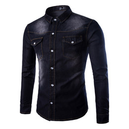Camisa magro do denim dos homens on-line-Mens New Denim Shirts Primavera Outono Moda bolso duplo sólidos camisas casuais Slim Fit Camisas Homme Tops