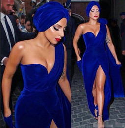 2019 academy awards vestidos Tapete Vermelho Lady Gaga Vestido Royal Blue Velvet Longo Formal férias celebridade desgaste Prom Party Vestido Custom Made Plus Size