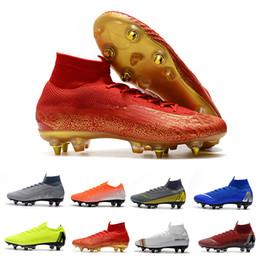 Tacos de fútbol gris online-2019 New Mercurial Fury VII Elite CR7 SE SG Botas de fútbol Fly 360 Tacos de fútbol para hombre Negro Gris Naranja Hombre Zapatos de fútbol Tamaño 39-45