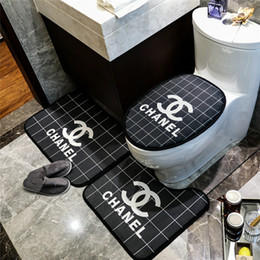 popular suit styles Coupons - Fashion Grid Toilet Mat Bathroom Fashion 3PCS Carpet Suit Europe And America Popular Letter Print Bath Mats