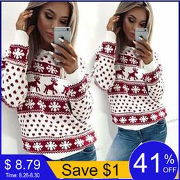 Damen hirsch pullover online-Herbst Winter Weihnachten Pullover Frauen Casual Langarm Deer Print Strickpullover Damen Pullover Jumper Ugly Pull