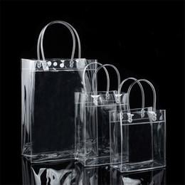 Chiari borse di regalo borse online-sacchetti regalo di plastica in PVC con sacchetti di imballaggio vino maniglie in plastica trasparente del partito borsa favorisce sacchetto di modo Borse con il tasto