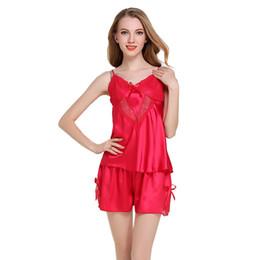 Ladies Pajama Set Lace Transparent Sexy Sling Shorts Silk Set Home Wear  Sleeveless Strap Nightwear Satin Top Shorts Pajamas c7449e2c2