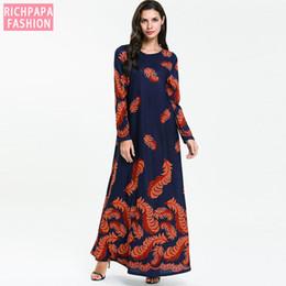 BNSQ Women's Plus Size Kaftan Dress Floral O Neck Long Sleeve Fashion Arabian Clothing