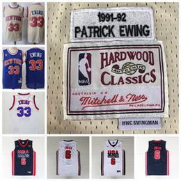 logotipos de sonhos Desconto Knicks Retro 33 Patrick Ewing Jerseys Costurado Clássico 1992 Sonho Olímpico Equipe Kong Kim Patrick Ewing Camisa De Basquete Mitchell Ness LOGO