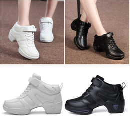women jazz shoes Promo Codes - Women Cow Leather Gym Shoes Fitness Footwear Ladies Dance Shoes Jazz Sports Jogging Solid Color