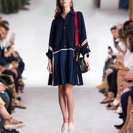 Wholesale 402 Flora print Reverskragen A Linie Knielang Empire Prom Kleider Abendkleider Luxus Kleid Langarm AS