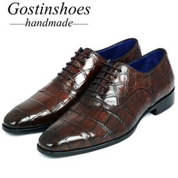 Крокодиловая обувь ручной работы онлайн-GOSTINSHOES HANDMADE Goodyear Welted  Brown Genuine Crocodile Green Dress Formal Shoes Men Lace-Up Pointed Toe SCF15