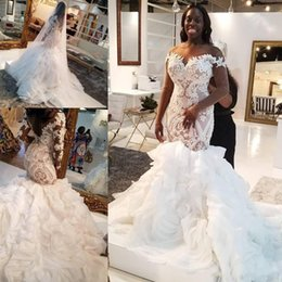 2019 vestidos de noiva de trompete Ilusão manga comprida africanos vestidos de noiva sereia 2020 Plus Size Lace Ruffles Tiered Catedral Trem Trumpet Noiva do vestido de casamento vestidos de noiva de trompete barato