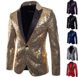 Vestito lucido degli uomini online-Shiny Sliver Sequin Blazer Uomo Brand New Slim Fit One Button Suit Fit One Button Dress Blazer Sequin Party Top Party show Giacca