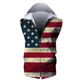 Canada Les hommes zippés sans manches à capuche USA drapeau américain 3D plein imprimé homme Sweat à capuche zippé Unisexe Casual Hoodies Sweats Tops (RSZJ-55005) cheap sleeveless men s hoodie Offre