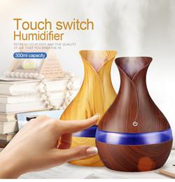 300ml Home Électrique Diffuseur d'arômes Humidificateur d'air à ultrasons Aromatherapy avec Diffuseur d'huiles essentielles à la forme Grian Wood Vase ? partir de fabricateur
