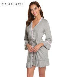 кружевные с длинными рукавами ночные рубашки Скидка Ekouaer Women Sexy Sleepwear Robes Long Sleeve Kimono Bathrobes Open Front Lace-trimmed Nighties Nightwear Bathroom Spa Robe