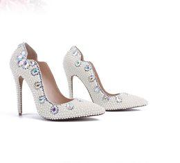 Canada 2019 Nouvelles Perles Chaussures De Mariage 3.9 Pouce Talons Haut De Luxe Brillant Chaussures De Mariée En Cuir Véritable Partie Sandales Chaussures Pour Femmes Offre