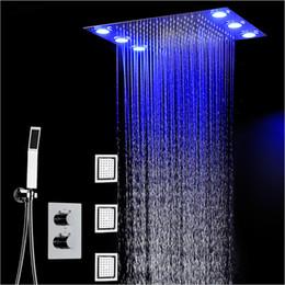 Température de douche de couleur en Ligne-360 * 500mm pluie douche set télécommande couleur LED plafonniers pluie chute Waterfal douche 3 voies température mitigeur thermostatique salle de bains