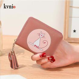 Sacchetto di carta coreano online-KVNIO Card Wallet Mini Coin Bag Donna Coreana Cute Cat Animal Priting Coin Purse Girls piccola pouch 2019 New Nappa Card Purse