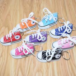 Sapatos de simulações on-line-2019 sapatas de lona chaveiro mini-sacos pingente chaveiro moda feminina homens pendurar decorações de simulação Sport Shoes porta-chaves