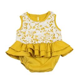 INS venta caliente Bebé gils mameluco del cordón dulce niños niña verano amarillo monos moda niños escalada niños ropa desde fabricantes