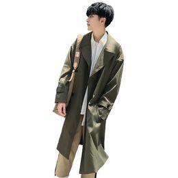 Корейский длинный плащ онлайн-2019 Весна мужская мода корейский стиль мужчины тренч средней длины ветровка свободные случайные пальто сплошной цвет пальто