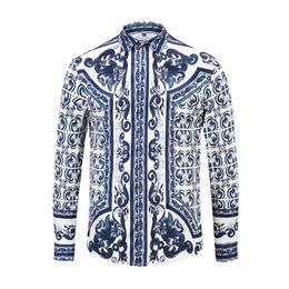 d97f00fe3e4 2019 мужские рубашки с рисунком Vintage pattern мужская рубашка с длинным  рукавом Slim Fit Dress рубашки